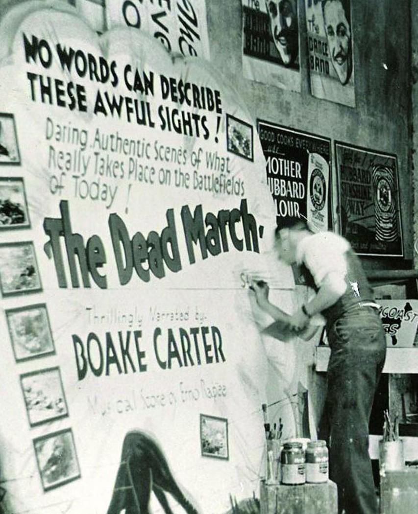 (Sign painter Chancey Curtis in Mankato, MN, ca. 1930. Courtesy of Sign Painters and Princeton Architectural Press.) From 99% Invisible